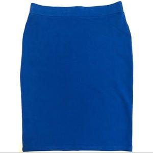 F21 Blue Elastic Midi Skirt